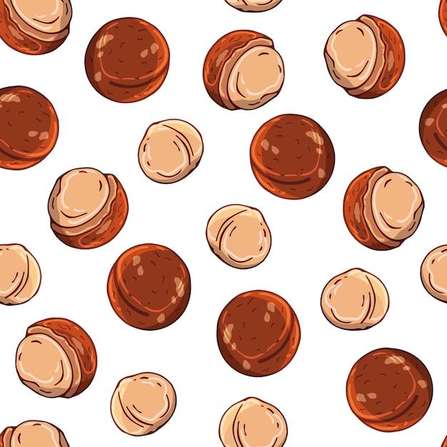 Modèle d'illustrations vectorielles sur le thème des noix. Vecteur Premium