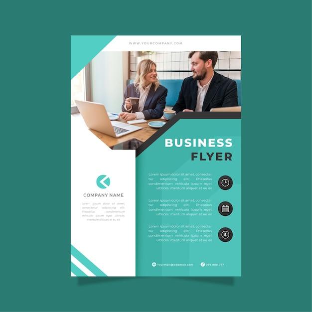Modèle D'impression Flyer Entreprise Bleu Et Blanc Vecteur gratuit