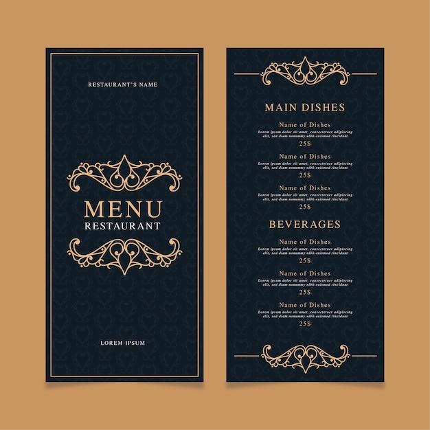Modèle D'impression De Menu De Restaurant Vecteur gratuit
