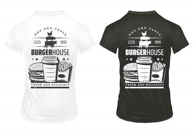 Modèle D'impressions De Restauration Rapide Vintage Avec Inscription Burger Soda Frites Sur Des Chemises Noires Et Blanches Isolées Vecteur gratuit