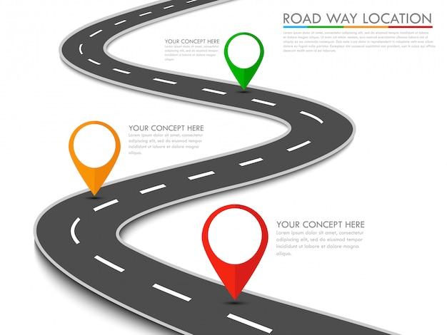 Modèle d'info-graphique d'emplacement de voie routière avec pointeur épingle Vecteur Premium