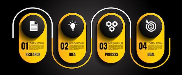 Modèle Infografic Avec 4 étapes Vecteur Premium