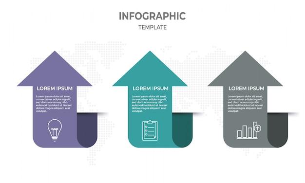 Modèle d'infographie avec 3 étapes, style de flèche. Vecteur Premium