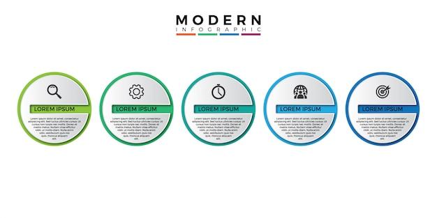 Modèle d'infographie 3d avec cinq étapes pour réussir Vecteur Premium