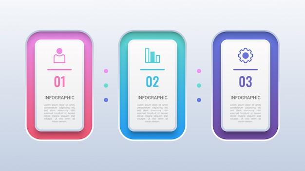 Modèle d'infographie 3d coloré en 3 étapes Vecteur Premium