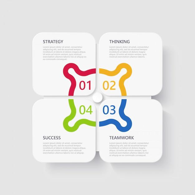 Modèle d'infographie 3d moderne avec 4 étapes pour réussir Vecteur Premium