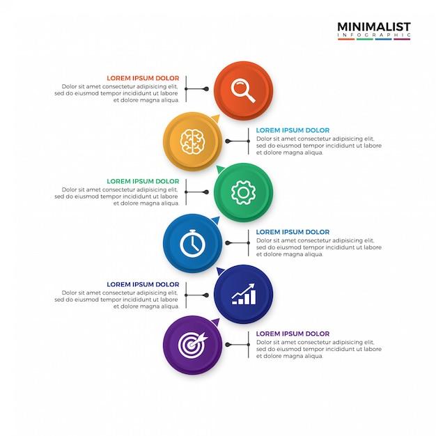 Modèle d'infographie 3d timeline coloré. Vecteur Premium