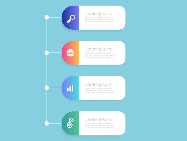 Modèle infographie 4 étapes verticales chronologie Vecteur Premium