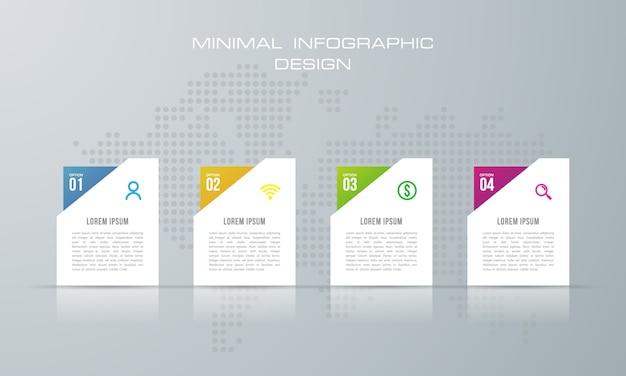 Modèle d'infographie avec 4 options, flux de travail, diagramme de processus Vecteur Premium