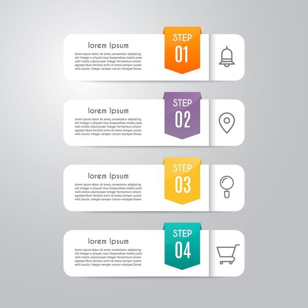 Modèle d'infographie avec 4 options Vecteur Premium