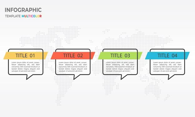 Modèle d'infographie 4 options Vecteur Premium