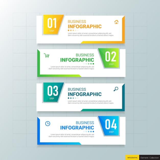 Modèle D'infographie 4 Options. Vecteur Premium