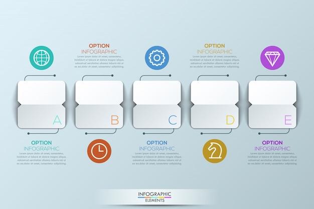 Modèle d'infographie avec 5 éléments de papier carrés Vecteur Premium