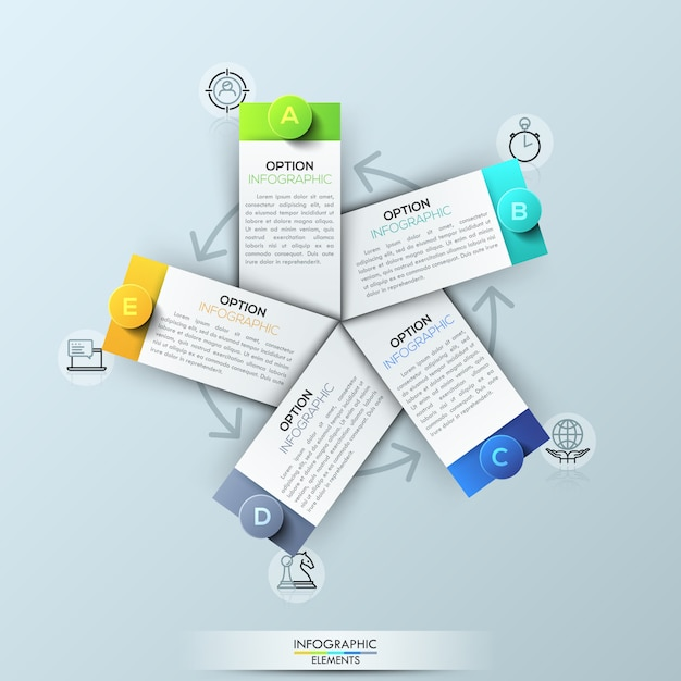 Modèle d'infographie avec 5 éléments rectangulaires Vecteur Premium