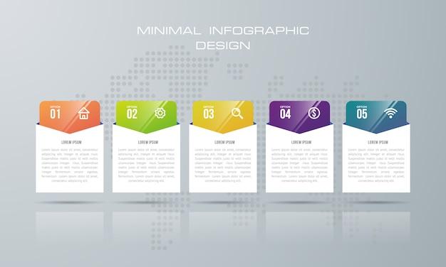 Modèle d'infographie avec 5 options, flux de travail, diagramme de processus, vecteur de conception infographie timeline Vecteur Premium