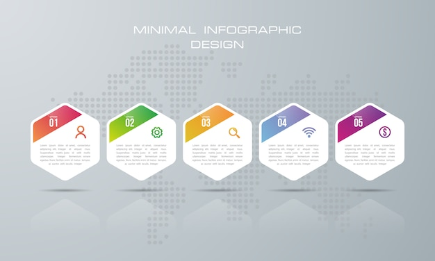 Modèle d'infographie avec 5 options, vecteur de conception d'infographie peut être utilisé pour la mise en page de flux de travail, - vecteur Vecteur Premium