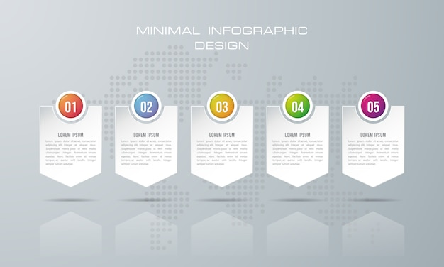 Modèle d'infographie avec 5 options Vecteur Premium