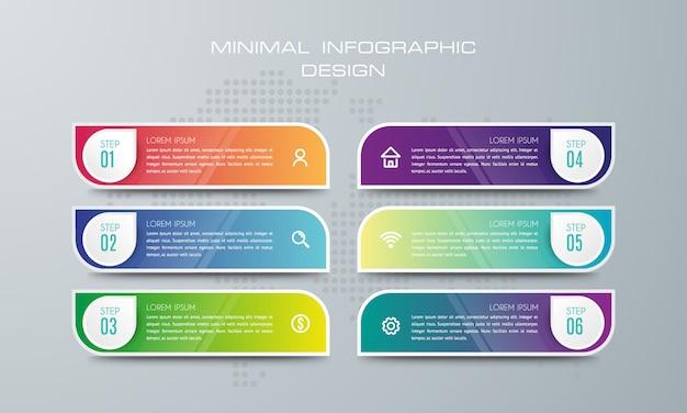 Modèle d'infographie avec 6 options, flux de travail, diagramme de processus, conception d'infographie timeline Vecteur Premium