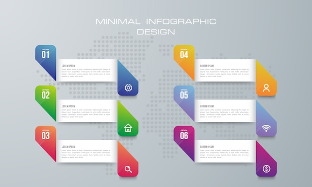 Modèle d'infographie avec 6 options Vecteur Premium