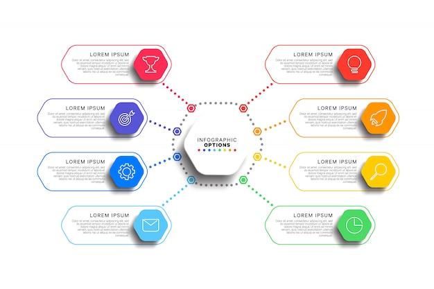 Modèle d'infographie 8 étapes avec des éléments hexagonaux réalistes sur fond blanc Vecteur Premium