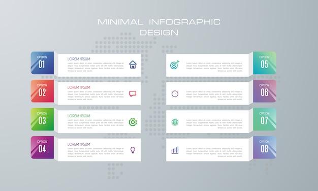 Modèle d'infographie avec 8 options, flux de travail, diagramme de processus, Vecteur Premium