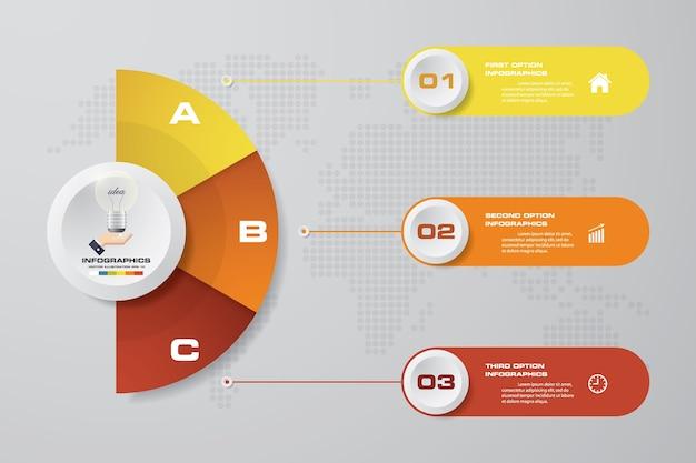 Modèle d'infographie affaires 3 options présentation. Vecteur Premium