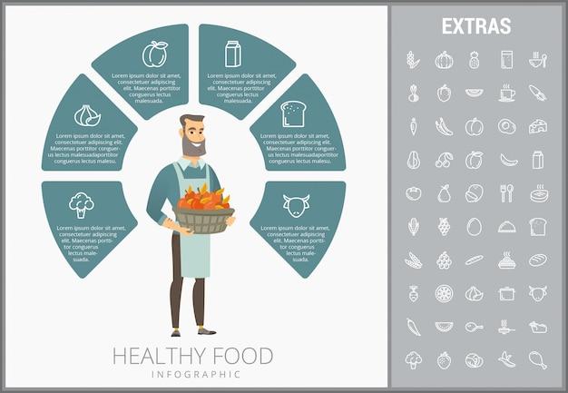 Modèle d'infographie des aliments sains, des éléments, des icônes Vecteur Premium