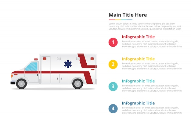 Modèle d'infographie ambulance avec quatre points Vecteur Premium