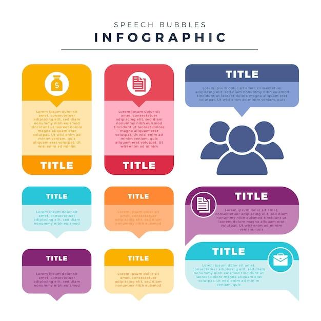 Modèle D'infographie De Bulles De Discours Vecteur gratuit