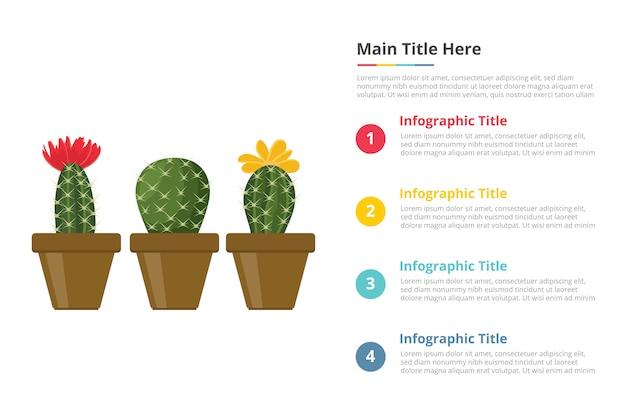 Modèle d'infographie de cactus avec quatre points Vecteur Premium