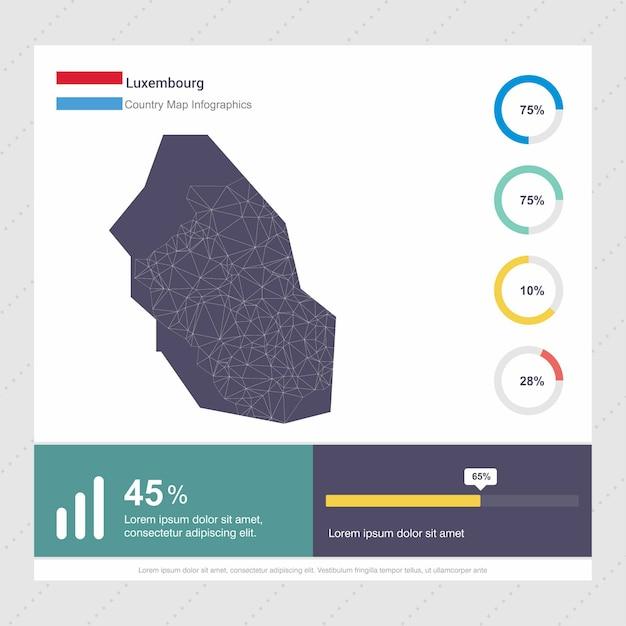 Modèle D'infographie De Carte Et Drapeau De Luxembourg Vecteur Premium