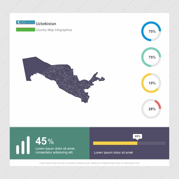 Modèle d'infographie de carte et drapeau de l'ouzbékistan Vecteur gratuit