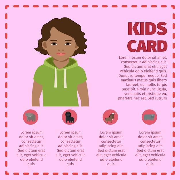 Modèle d'infographie carte enfants avec jeune garçon Vecteur Premium
