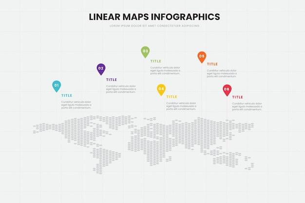 Modèle D'infographie De Cartes Linéaires Vecteur gratuit