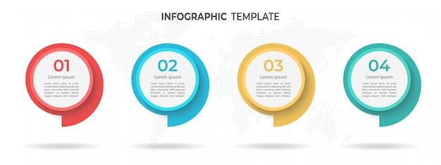 Modèle D'infographie De Chronologie De Cercle Moderne 4 Options. Vecteur Premium
