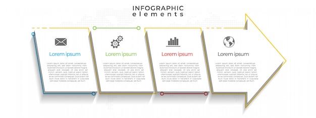 Modèle D'infographie De Chronologie De Flèches, 4 Options. Vecteur Premium