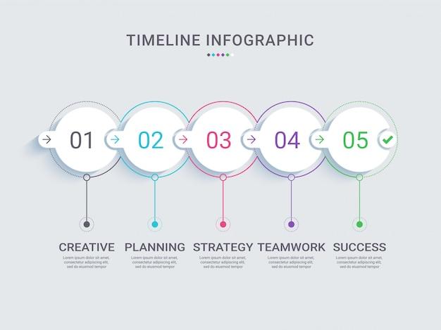 Modèle d'infographie de chronologie de jalon de projet Vecteur Premium