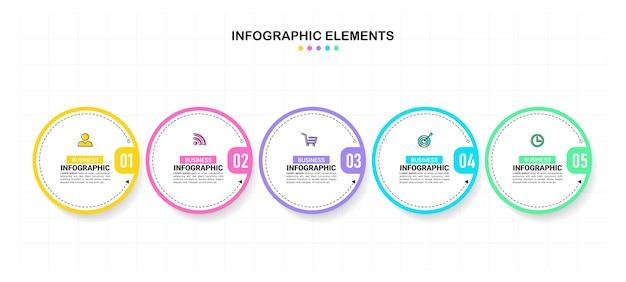 Modèle D'infographie Circulaire En Cinq étapes. Vecteur Premium