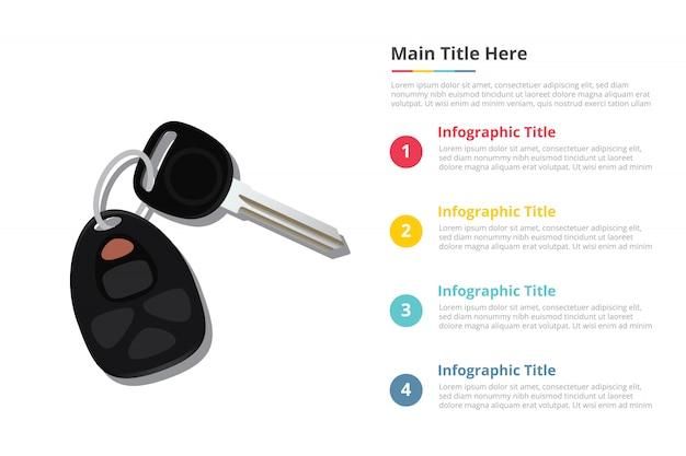 Modèle d'infographie de clés de voiture avec quatre points Vecteur Premium
