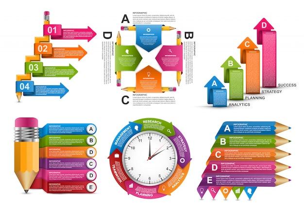 Modèle d'infographie de collection. Vecteur Premium