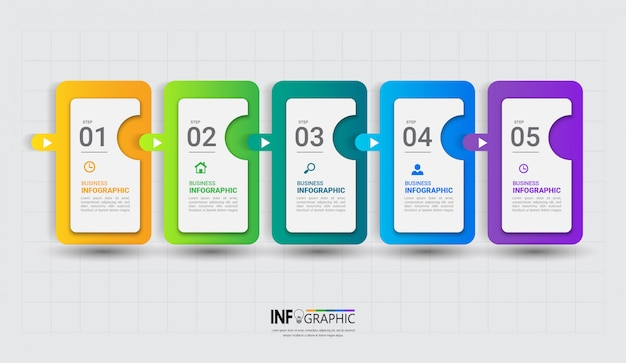 Modèle D'infographie Coloré En Cinq étapes Vecteur Premium