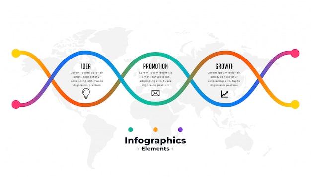 Modèle D'infographie Coloré Créatif En Trois étapes Vecteur gratuit