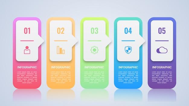 Modèle d'infographie coloré simple Vecteur Premium