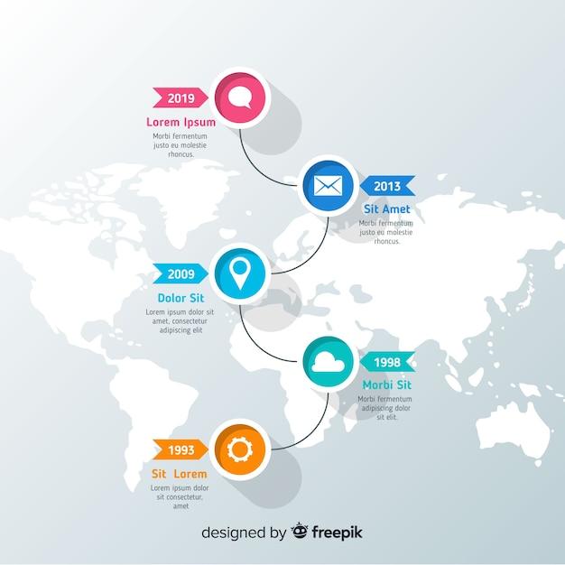 Modèle d'infographie coloré timeline moderne Vecteur gratuit
