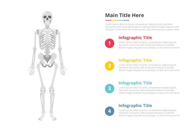Modèle d'infographie crâne humain avec espace libre de texte de différentes couleurs et description Vecteur Premium