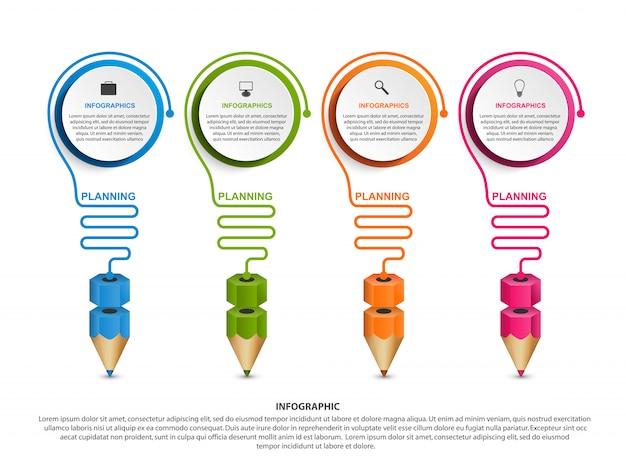Modèle d'infographie avec un crayon. Vecteur Premium