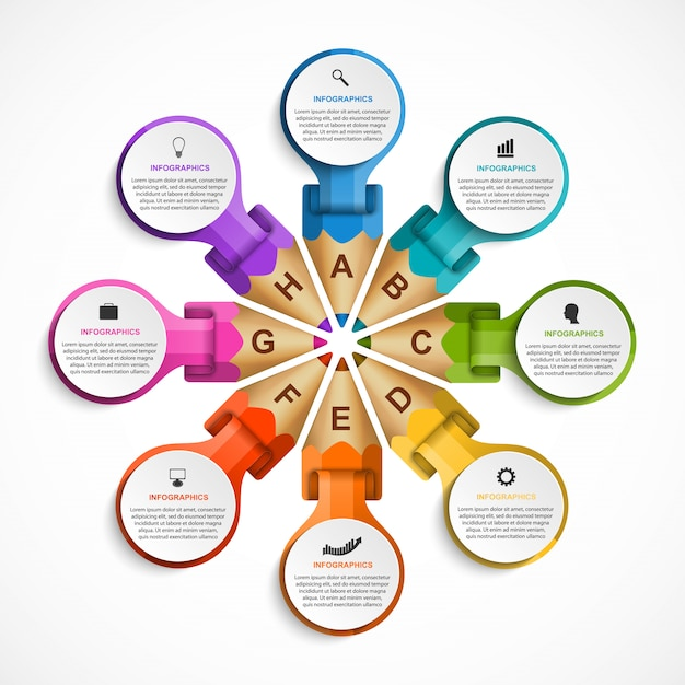 Modèle d'infographie avec des crayons de couleur. Vecteur Premium