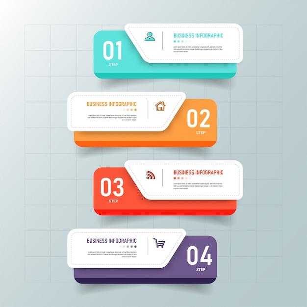 Modèle D'infographie Créative En 4 étapes Vecteur Premium