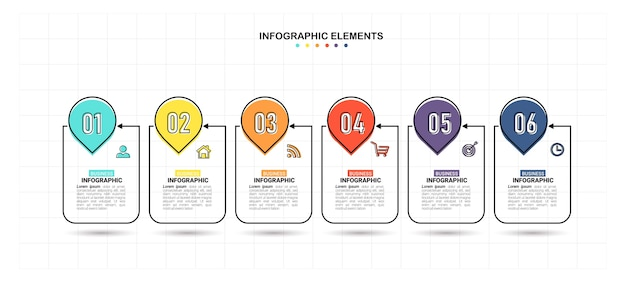 Modèle D'infographie Créative En 6 étapes Vecteur Premium