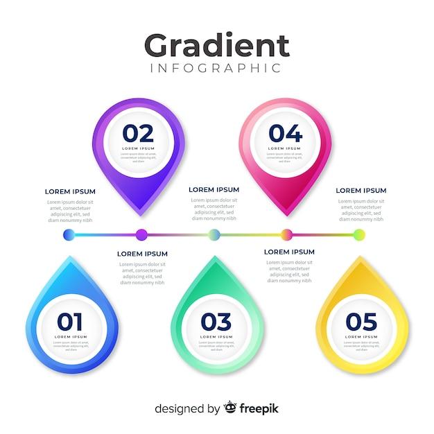 Modèle d'infographie dégradé coloré Vecteur gratuit